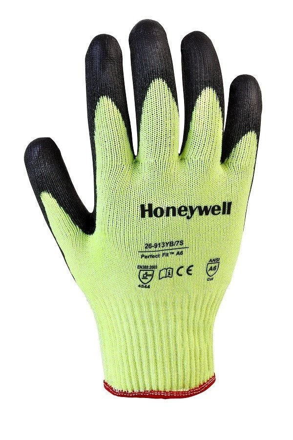 Honeywell Perfect Fit™ A6 Cut-Resistant Yellow on Black Size XL Touchscreen Capable Gloves