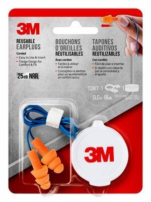 3M Reusable Corded Earplugs 25db