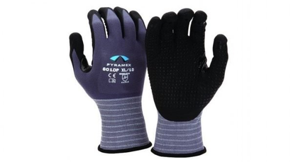 Pyramex Nitrile Dots Thumb Crotch Glove GL601DP Series Dark Purple Back & Black Palm