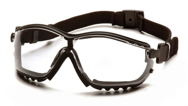 Pyramex V2G Safety Glasses with Black Strap/Temples and Clear H2X Anti-Fog Lens