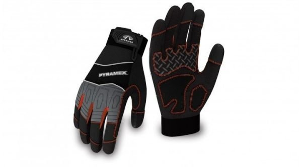 Pyramex Trade Gloves Medium Duty GL102 Series Black with Grey, Red and White Accents