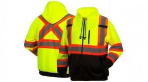 Pyramex Type R Class 3 Two-Tone Black Bottom Full-Zip Safety Sweatshirt Lime