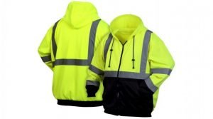 Pyramex Type R Class 3 Black Bottom Full-Zip Safety Sweatshirt Lime