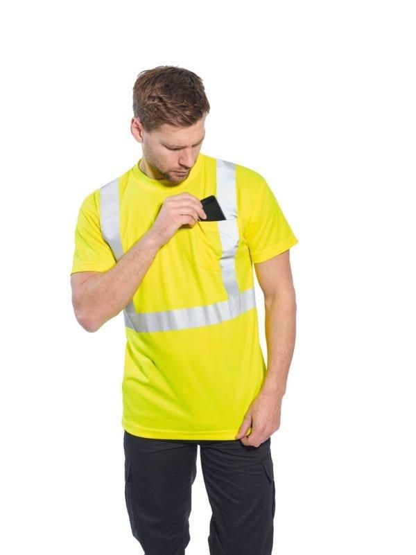 JSP Hi-Vis Short Sleeve Pocket T-shirt Yellow