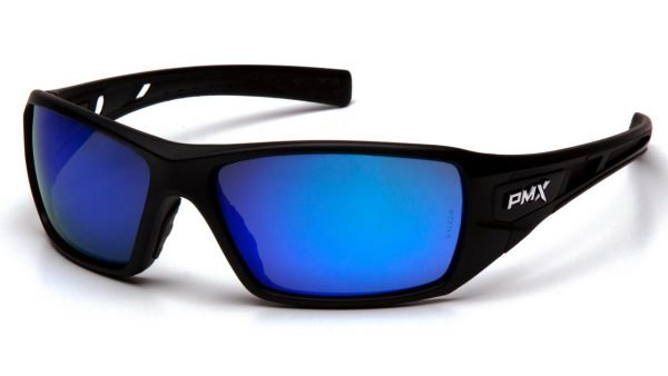 Pyramex VELAR  Safety Glasses  with Black Frame and Ice Blue Mirror Lens
