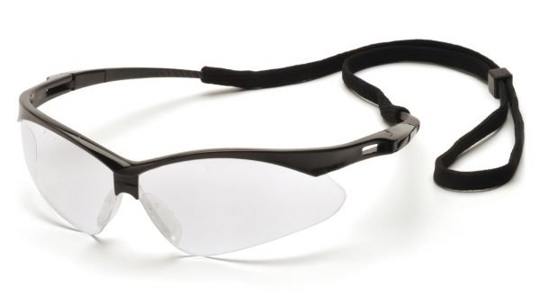 Pyramex PMXTREME Safety Glasses with Black Frame, Clear Lens and Black Cord