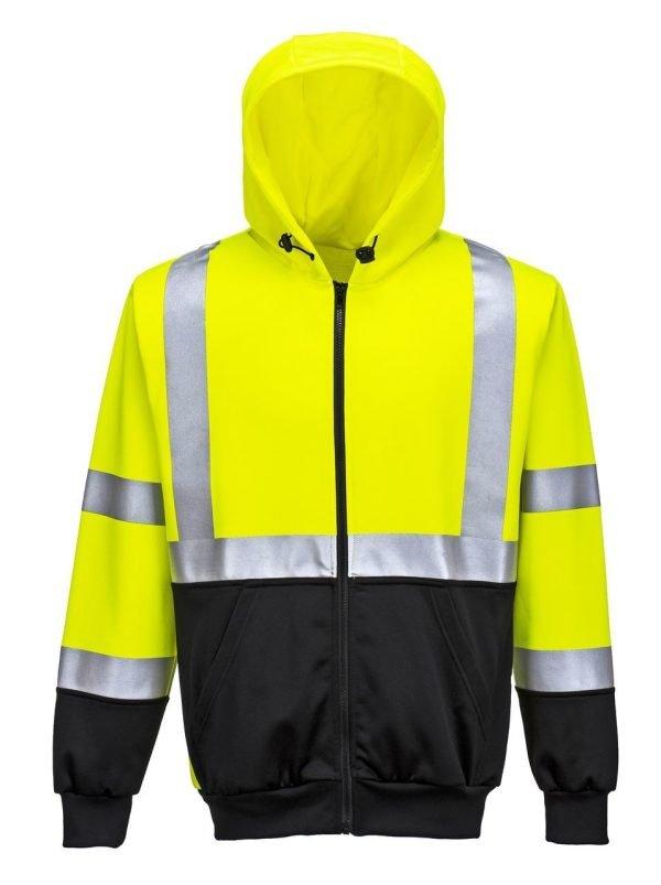 JSP Hi-Vis Zipped Hoodie Yellow/Black