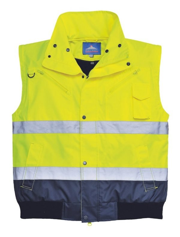 JSP Hi-Vis Contrast Bomber Jacket Yellow