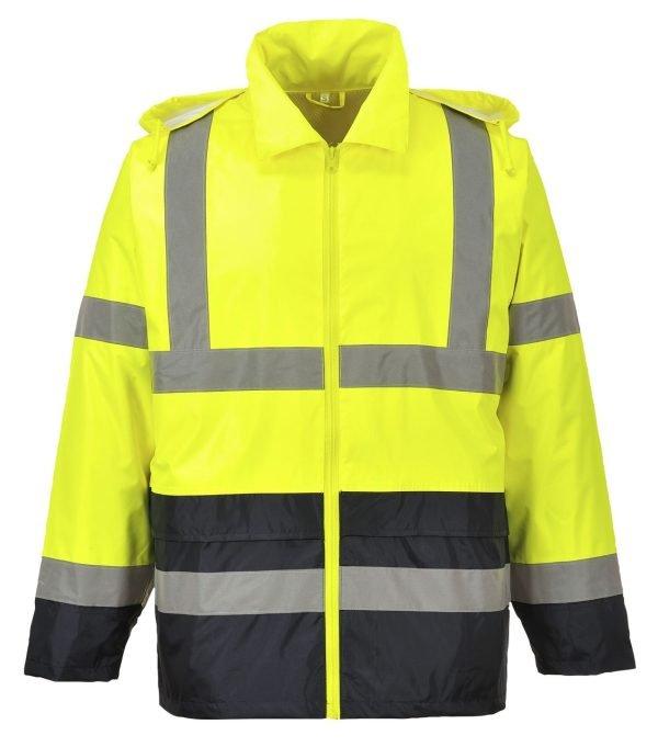 JSP Hi-Vis Contrast Rain Jacket Yellow/Black
