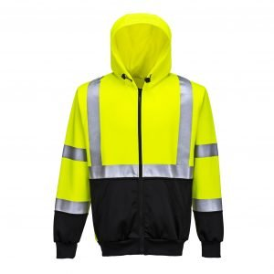 Hi-Vis Zipped Hoodie Yellow/Black