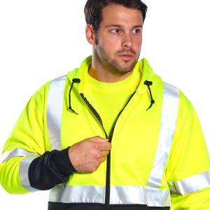 Hi-Vis Zipped Hoodie Yellow/Black