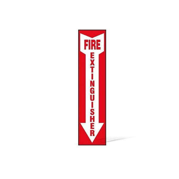 Fire Extinguisher Arrow Vertical Sign - 18 in x 4 in