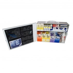 100 Person Metal First Aid Kit with Wall Mountable Clips