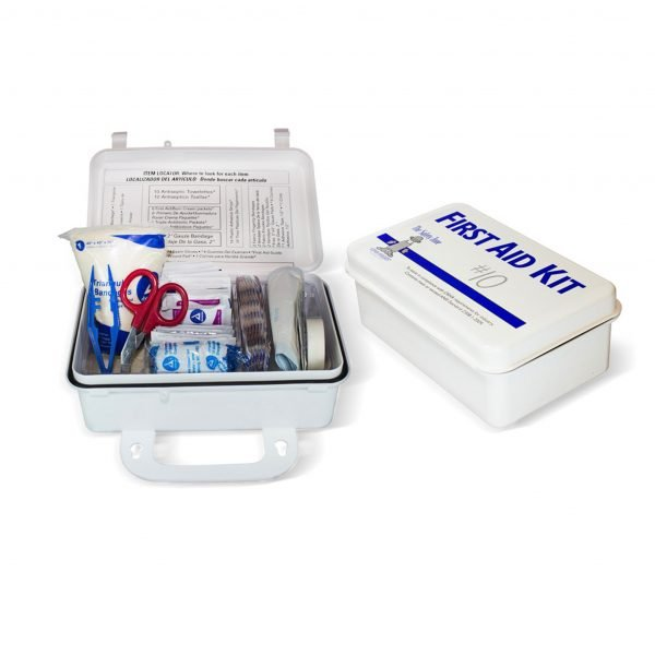 10 Person Metal First Aid Kit with Wall Mountable Clips