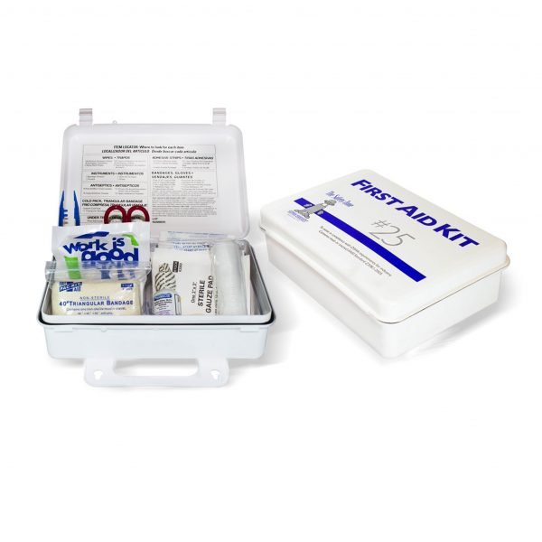 25 Person Metal First Aid Kit with Wall Mountable Clips