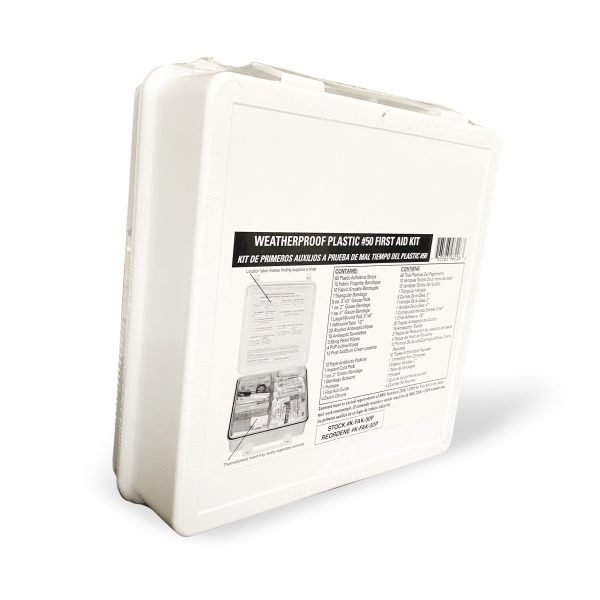 50 Person Plastic First Aid Kit with Wall Mountable Handle